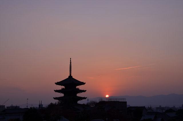 八坂の夕日